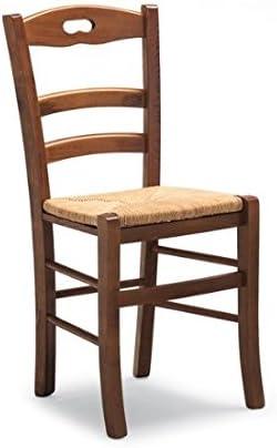 Sconosciuto Sedia Savoy rustica in legno tinta noce sedile paglia