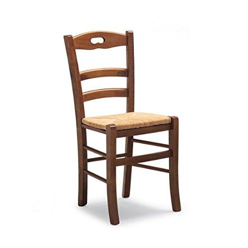 Sconosciuto savoy chaise rustique en bois teinture brou de noix et assise en paille