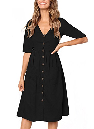 Neck V Swing Casual Sleeve Button Y black Pockets Astylish half Short Sleeve Women Dress Down Midi Half g5XxwCqYnz