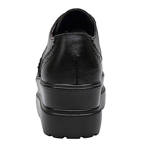 Mode Noir Rismart De Femme Pur Cuir Désign Chic Brogue Chaussure Compensé Baskets BxPYwqrOB
