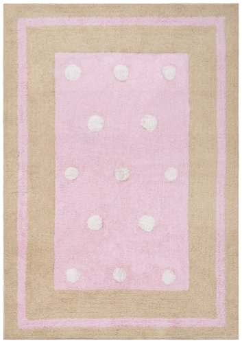 Pink Border Dots Carousel Cotton 4'x6' Rug