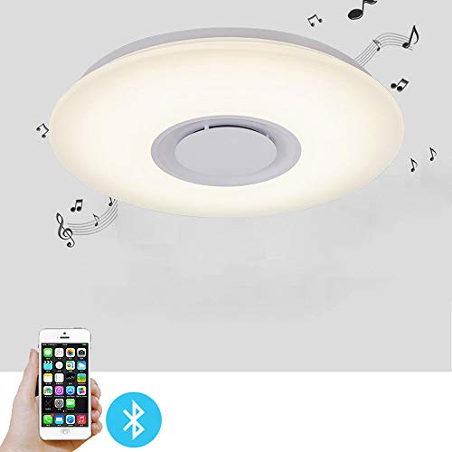 - Led Music Ceiling Light, 24W Color-Changing Kids Bedroom Bluetooth Lamp Ceiling Fixtures Flush Mount & Speaker (All Colors)