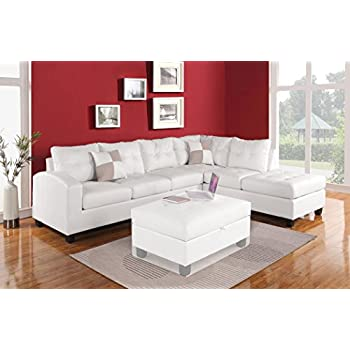 Amazoncom Vig Furniture T117 Modern White Leather Sectional Sofa
