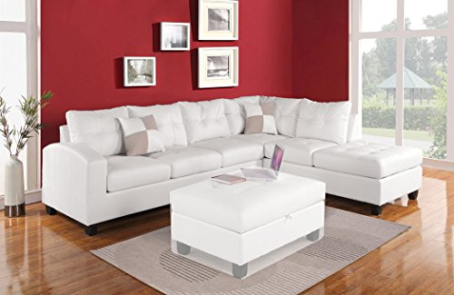 ACME Furniture Kiva 51175 Sectional Sofa with 2 Pillows, White Bonded Leather Match (White Sectional Sofa)