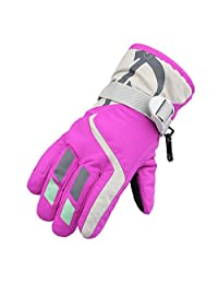TONSEE Winter Warmest Waterproof and Breathable Snow Gloves for Kids Skiing