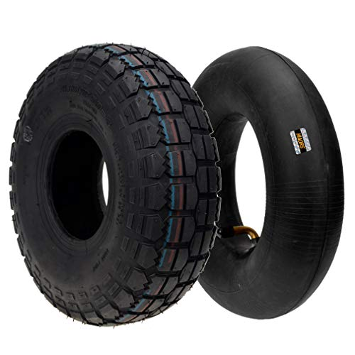 HIAORS 4.10/3.50-4 4.10-4 410-4 Tire with Inner Tube for Hand Trucks Garden Rototiller Snow Blower Go Cart Kid ATV Wheelbarrows, Lawn Mowers Parts