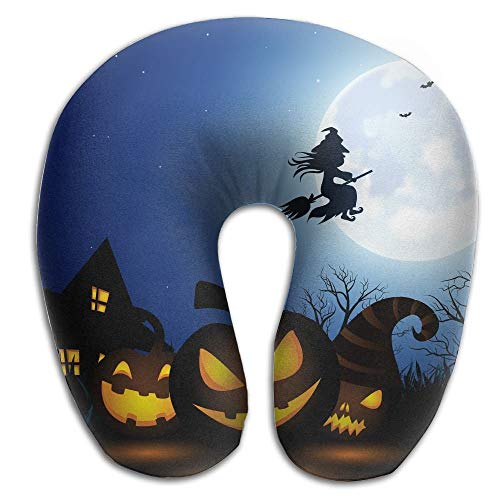 SINOVAL Spooky Halloween Print U Type Pillow Memory Foam Neck Pillow Travel Relief Neck Pain Fashion Super Soft Cervical Pillows Resilient Material Relex -
