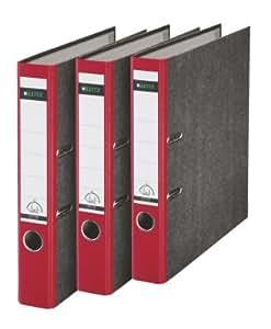 Leitz 310315025 - Clasificador de anillas, lomo estrecho, 180A, A4, 3 unidades, color rojo