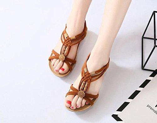 YOUJIA Ladies Boho Beaded Peep Toe Sandals Elastic T-Strap Slingback Flip Flop Beach Shoes Brown WXv2E