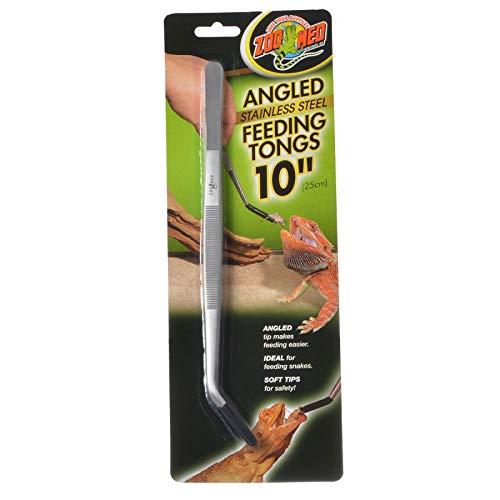OKSLO Angled stainless steel feeding tongs 1 pack - (10 long) - pack of 10