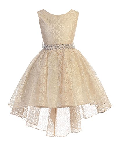 High Low Lace Dress Rhinestones Belt Pageant Flower Girl Dress Taupe Size 18]()