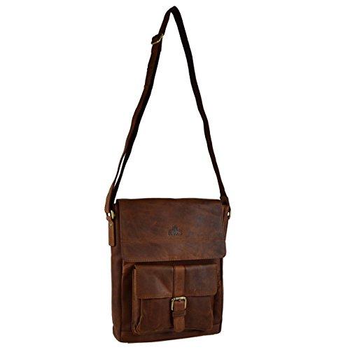 - Rowallan of Scotland Women's Buffalo Leather North/South Messenger Bag Onesize Cognac