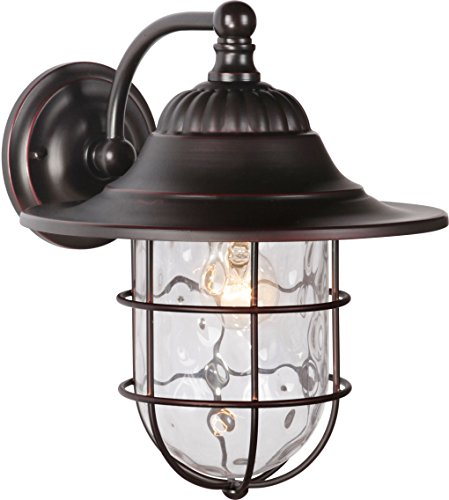 Exteriors Z5824-88 Fairmont 1 Light Large Wall Mount with Clear Hammered Glass, Oiled Bronze Gilded