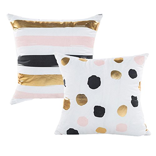 Striped Gold Pillowcase (AllHeartDesires Set of 2 Gold Foil Black Pink White Polka Dot Striped Pattern Decorative Pillow Case Cushion Cover Pillowcase Indoor Home Holiday Decoration)