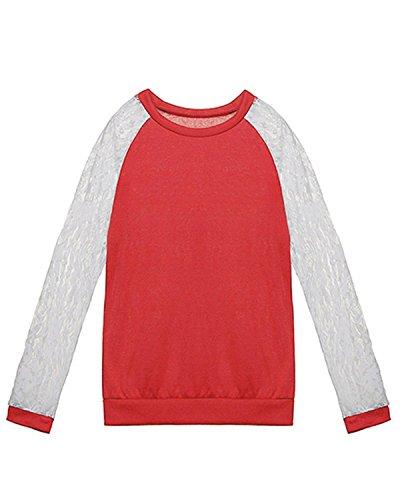 ZANZEA Damen Spitze Langarm T-Shirts Blumen Tops Oberteil OL DE 40/XL Rot