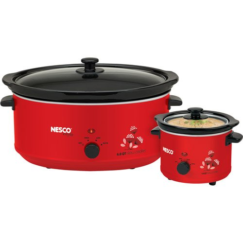 New Slow Cooker Combo Set, Red 6.5-quart and1.5-quart crockp
