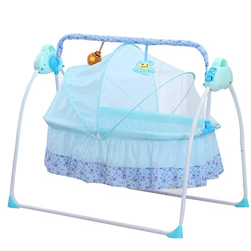 Infant Newborn Rocking Chair - Electric Baby Cradles Bed Auto Baby Crib Cradle Rocking Chair Sleep Bed,Music Remoter Control Sleeping Basket Bed Newborns Bassinets Sleep Bed Sway Baby Swing Safe Crib Infant Rocker Cot+Mat (Blue)