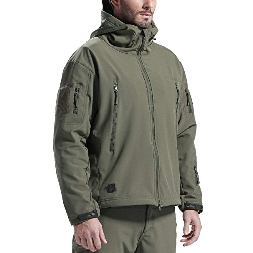 FREE SOLDIER Men's Outdoor Waterproof Soft Shell Hooded Military Tactical Jacket(Army Green X-Large)