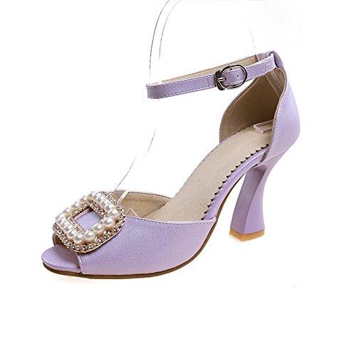 Adee Ladies Peep-Toe Unique Platform Soft Material Sandals Purple