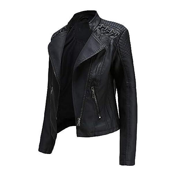 Femmes Dames Slim Tailoring PU Faux Veste en Cuir Court Veste Biker Manteau