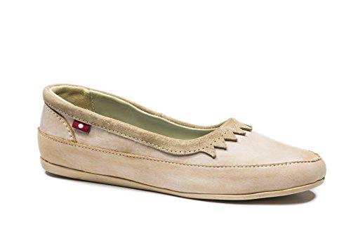 Oliberte Women's Tanzini Tan Brushed Wax/Sand Suede 41/11 Flat Shoe by Oliberte