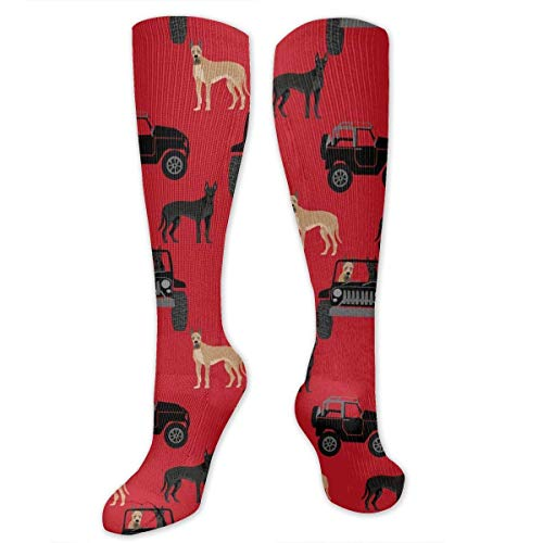 Great Dane in Jeeps Cute Dogs Black and Red Men's/Women's Sensitive Feet Wide Fit Crew Socks and Cotton Crew Athletic Sock