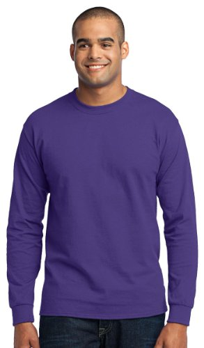 Port & Company Men's Tall Long Sleeve 50/50 Cotton/Poly T Shirt XLT Purple ()