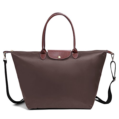 Stylish Women's With Bags Bag Waterproof Brown Nylon Shoulder Tote BEKILOLE Travel Beach Strap Shoulder Z5w4Pq4xd