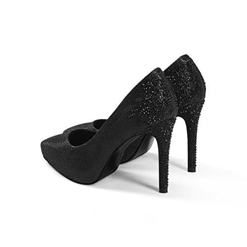 9 Pointe À Talon Chaussures Chaussures Femmes Noir Strass L'Eau Talons Wysm Haute Stiletto Table Imperméable de 5cm Mariage gwXxqE8vE