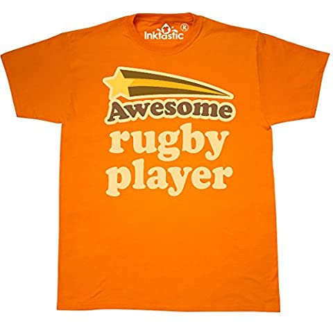 Inktastic - Rugby Player Awesome T-Shirt Small Safety Orange - 761 Rugby