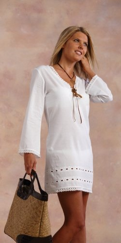 White Crochet Trim Cover Up by Mud Pie