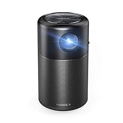 Nebula Capsule, Smart Portable Projector, Pocket Cinema with High-Contrast, Remarkable 100'' Picture, 360° Speaker, Android 7.1, 4 Hour Video Playtime, 30 Hour Music Playtime, Dedicated App and More.