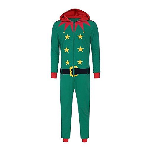 Bangerdei Men's Holiday Christmas Zip Up Jumpsuit Santa Claus Romper Adult Green L Holiday Romper