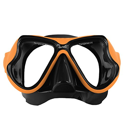 GoMax Dive Scuba Diving Mask Also for Snorkel/Snorkeling Twin Lens for Adults and Youth w/Tempered Glass with Free Soft Mesh case (Orange) (Dive Scuba Diving Mask W)