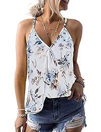 4b1652676ff40 Women Summer Sleeveless V Neck Boho Floral Printed Tank Tops S-XXL