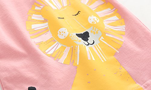 Toddler Boys Girls T-shirts Tops Organic Short-sleeved Cute Animals Prints Embroidery Unisex 2t-7t (4T, Pink1) by KiKi Shop (Image #4)