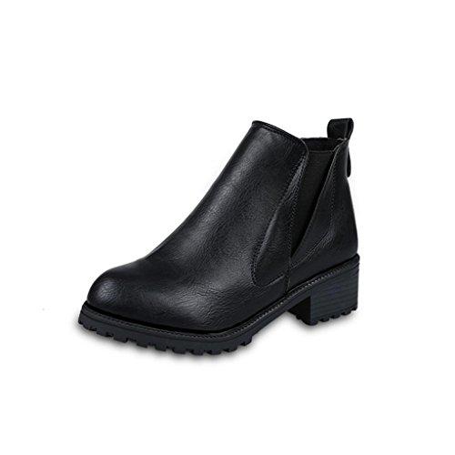ホット販売、aimtoppy新しい女性用冬アンクルブーツローヒールファッションブーツ秋冬ブーツ靴 7 ブラック AIMTOPPY