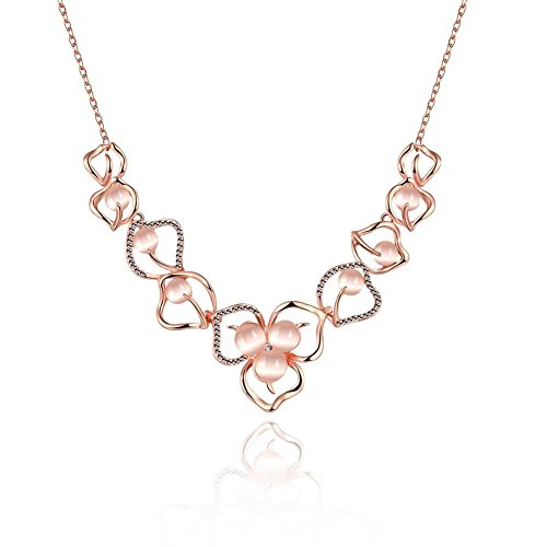 Yuntun 2016 High Grade Korean Romantic Hollow Flower Necklace Opal Girl Jewelry(Rose gold) (Roberto Coin Initial Necklace)
