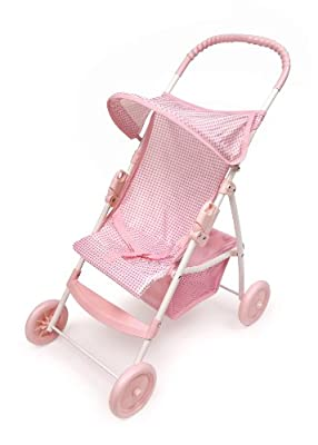 Badger Basket Folding Doll Umbrella Stroller - Pinkwhite by Badger Basket