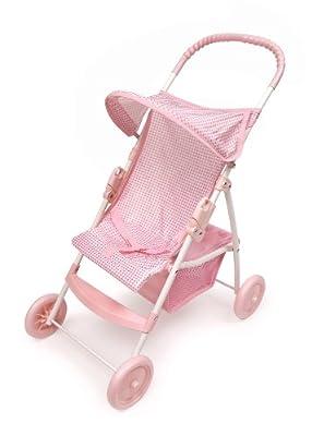 Badger Basket Folding Doll Umbrella Stroller - Pinkwhite by Badger Basket