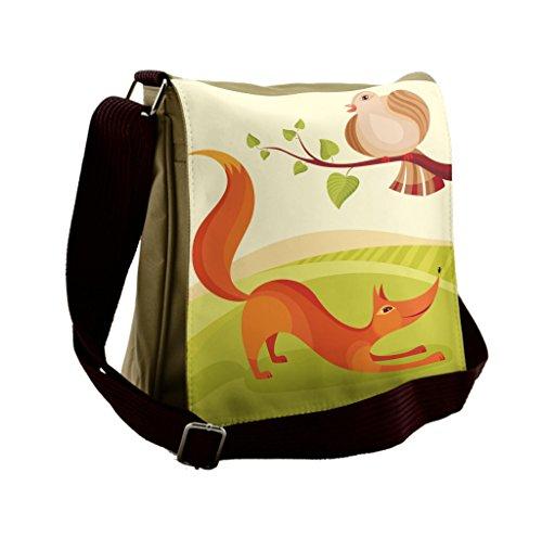 Lunarable Animal Messenger Bag, Fox and Dove Rural Nursery, Unisex - Dove Messenger
