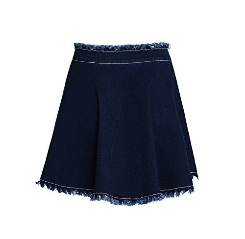 - SUWIINA Women's Denim Jean Casual Basic Frayed Hem Pleated Ruffle Fringed Mini Short Skirt Blue