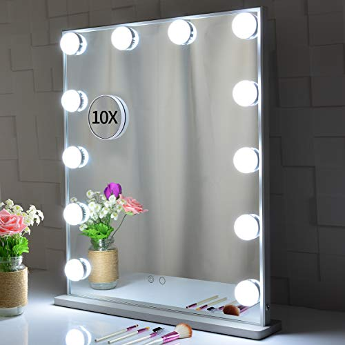 Large Hollywood Vanity Mirror with Lights 62×51.2cm, Tabletop or Wall Mounted Makeup Dressing Beauty Lighted Vanity Mirrors,with a Detachable 10X Magnification Spot Cosmetic Mirror Included Silver