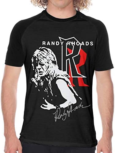 Randy Rhoads ランディ ローズ Tシャツ メンズ ラグラン 野球服 速乾性 柔らかい 通気性 半袖 丸首 ブラックカジュアル