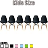2xhome - Set of Six (6) - Black - Kids Size Eames Side Chairs Eames Chairs Black Seat Natural Wood Wooden Legs Eiffel Childrens Room Chairs No Arm Arms Armless Molded Plastic Seat Dowel Leg…