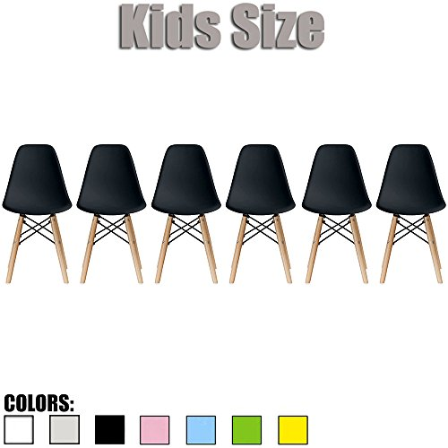 2xhome - Set of Six (6) - Black - Kids Size Eames Side Chairs Eames Chairs Black Seat Natural Wood Wooden Legs Eiffel Childrens Room Chairs No Arm Arms Armless Molded Plastic Seat Dowel Leg… by 2xhome