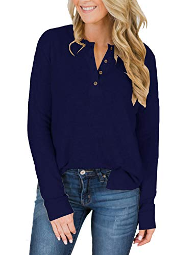 Womens Henley Tops Plus Size Short Sleeve Summer Long Sleeve Shirts Fall V Neck Button Down Casual Tshirts Blouses Navy Blue 1x1 Rib V-neck Top