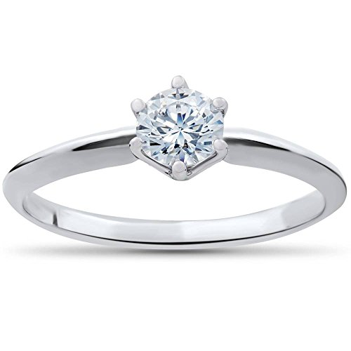 3/8 Carat Round Diamond Solitaire - 3/8ct Round Diamond Solitaire Engagement Ring 10K White Gold - Size 4.5