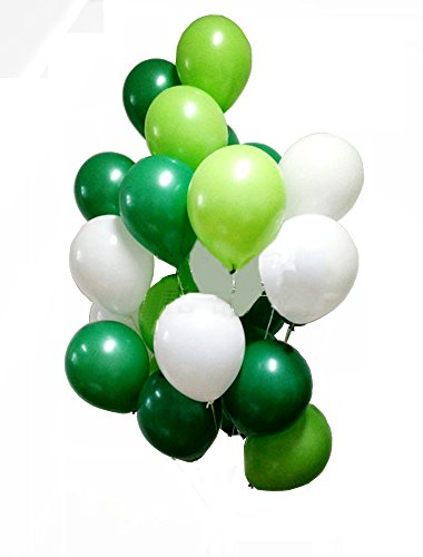AnnoDeel 50 Pcs 12inch Green and White Balloons,3 Color White Light Green Balloons and Dark Green Balloons for Birthday Wedding Party Spring Decorations]()