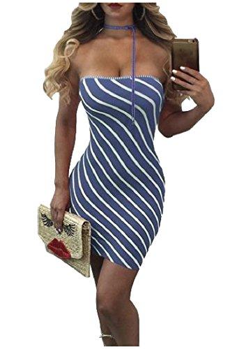 Bodycon Spalline Coolred Fuori Clubwear Blu Strisce Delle Spalla Vestito A Senza Donne wqfYZwEx